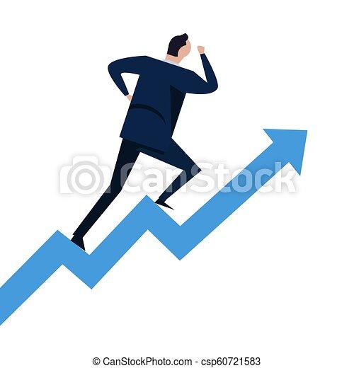 haut., concept, reussite, carrière, diagramme, étapes, courant, aller, croissance, homme affaires, escalier grimpeur - csp60721583