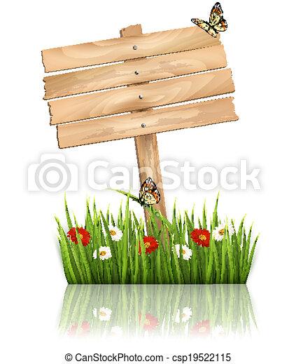 herbe, fond, nature, bois, signe, vert, vector., fleurs - csp19522115