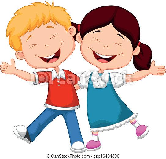 heureux, dessin animé, enfants - csp16404836