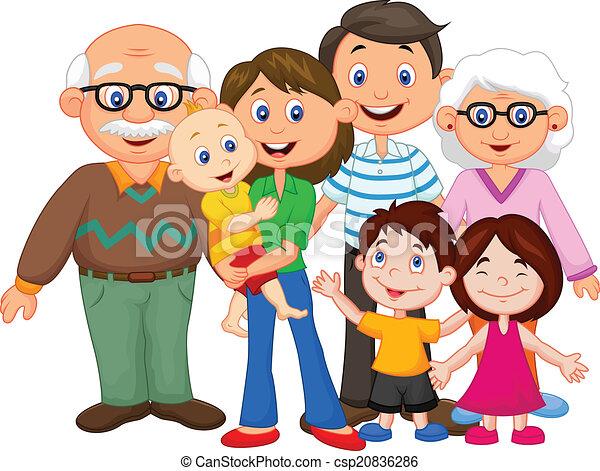 heureux, dessin animé, famille - csp20836286