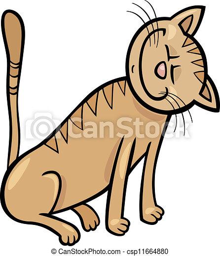 heureux, dessin animé, illustration, chat - csp11664880
