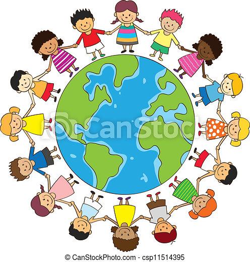 heureux, enfants tenant mains - csp11514395