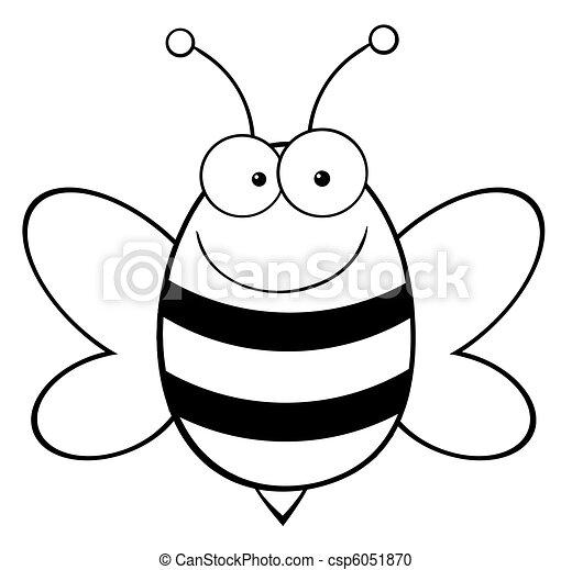 heureux, esquissé, abeille - csp6051870