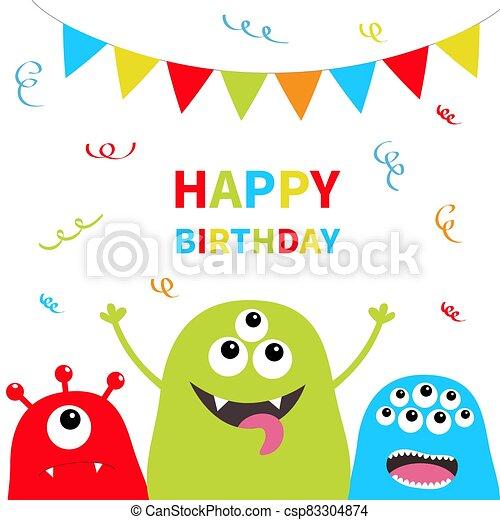 heureux, silhouette, plat, arrière-plan., monstre, rope., isolated., trois, effrayant, mignon, face., confetti., birthday., papier, character., triangle, design., halloween., set., dessin animé, bleu, tête, drapeaux - csp83304874