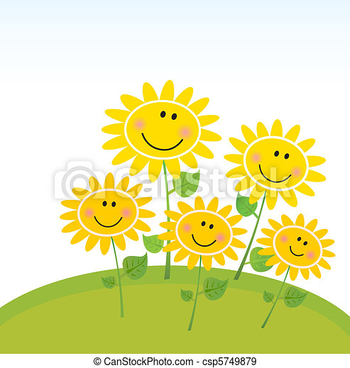 heureux, tournesols, jardin, printemps - csp5749879
