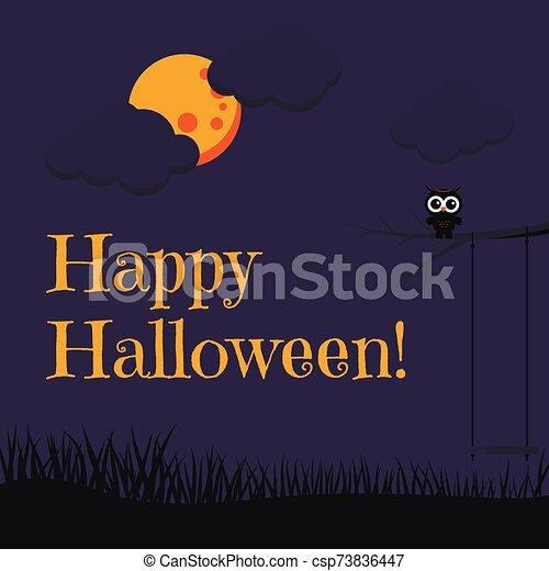 hibou, dessin animé, style, arbre, carte, branche, beau, nuages, entiers, balançoire, grass., noir, séance, lune, heureux, mignon, halloween - csp73836447