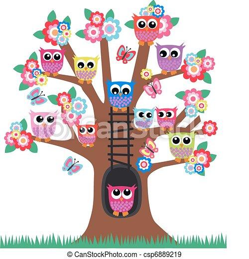 hiboux, arbre - csp6889219