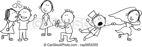 histoire, mariage, planche, dessin animé - csp5654355