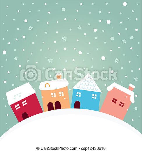 hiver, coloré, neiger, maisons, derrière, colline - csp12438618