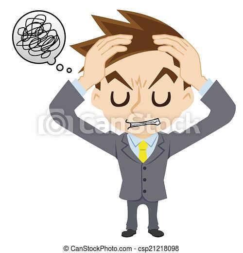 homme affaires, a, mal tête - csp21218098