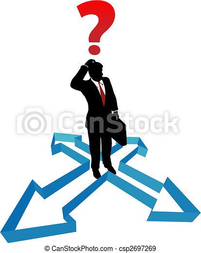 homme affaires, direction, flèches, indécision, question - csp2697269