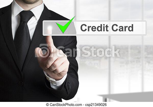 homme affaires, touchscreen, pousser, carte, crédit - csp21349026