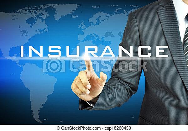 homme affaires, virtuel, écran, signe, assurance, toucher - csp18260430