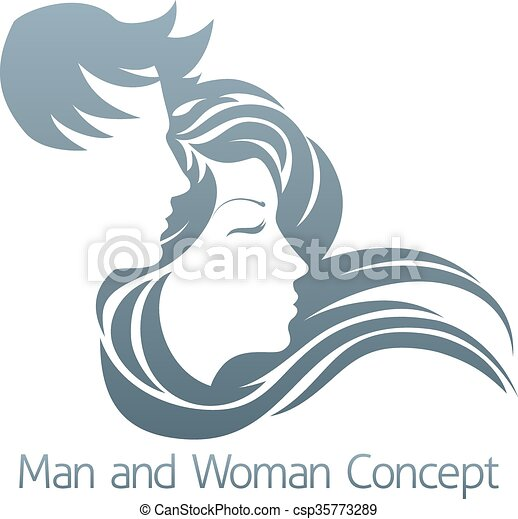 homme, concept, profil, femme - csp35773289