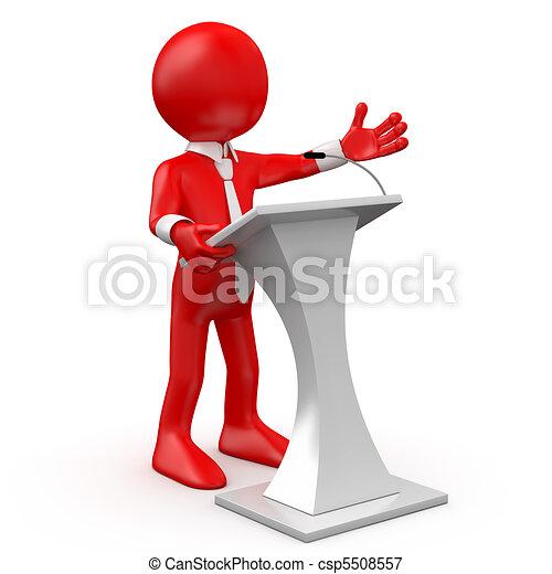 homme, rouges, conférence, parler - csp5508557