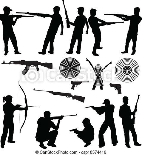 homme, silhouette, armes feu, tir - csp18574410