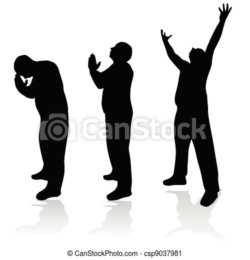 homme, silhouette, prière - csp9037981
