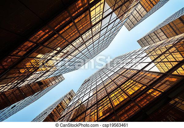 hong, coup, bureau, lumière, bâtiments, kong, refléter, haut - csp19563461