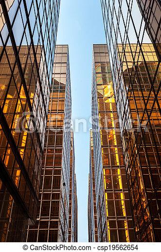 hong, gratte-ciel, lumière soleil, kong, verre, refléter, symétrique - csp19562654