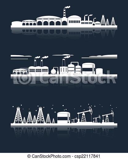 horizon ville, industriel, bannières - csp22117841