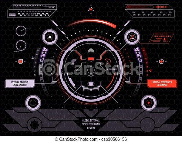 hud, écran, toucher, interface utilisateur, futuriste - csp30506156