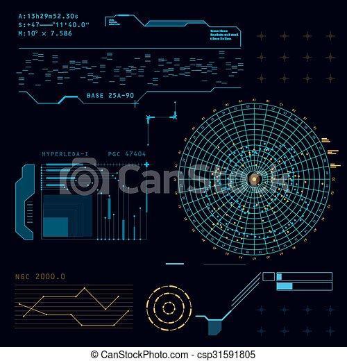 hud, écran, toucher, interface utilisateur, futuriste - csp31591805