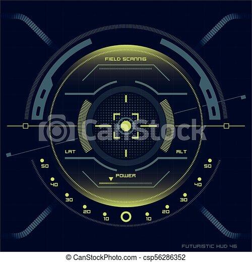 hud, écran, toucher, interface utilisateur, futuriste - csp56286352