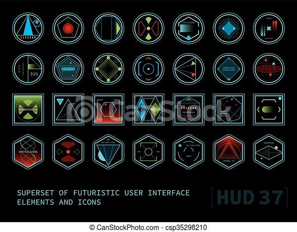 hud, écran, toucher, interface utilisateur, futuriste - csp35298210