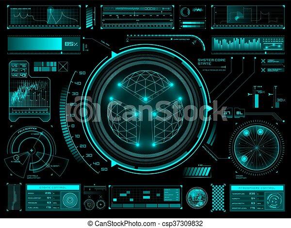 hud, écran, toucher, interface utilisateur, futuriste - csp37309832