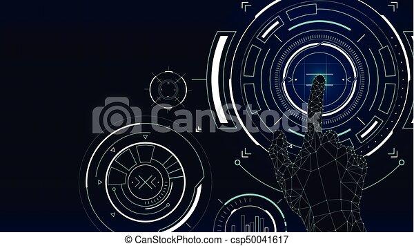 hud, écran, toucher, vecteur, futuriste, interface, technologie, fond - csp50041617