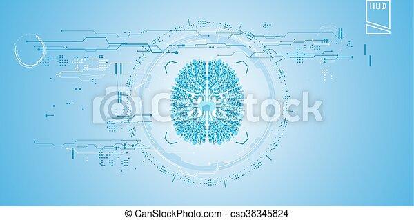 hud, concept, virtuel, interface, graphique, utilisateur, toucher, futuriste - csp38345824