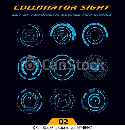 hud, futuriste, arme, scopes, jeux, high-tech - csp86749447