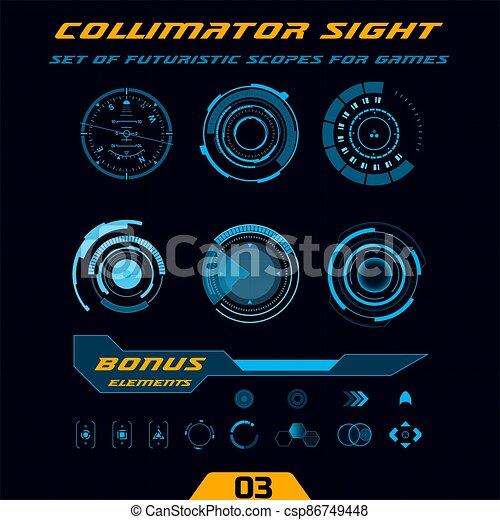hud, futuriste, arme, scopes, jeux, high-tech - csp86749448