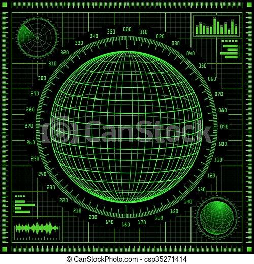 hud., interface, écran, futuriste, utilisateur, radar - csp35271414