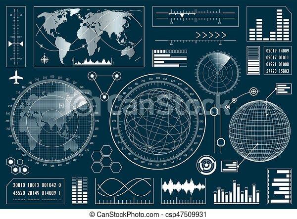 hud, interface, ensemble, utilisateur, futuriste - csp47509931