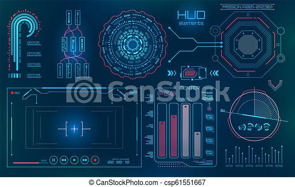 hud, utilisateur, fond, technologie, futuriste, interface - csp61551667