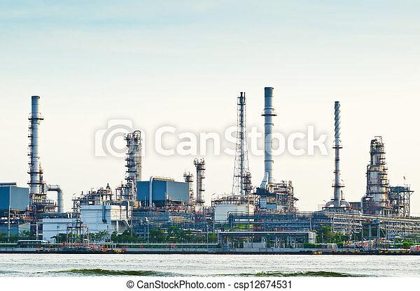 huile, matin, raffinerie, usine, scène - csp12674531