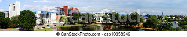 huntsville, grand, parc, en ville, panoramique, printemps, cityscape, alabama - csp10358349