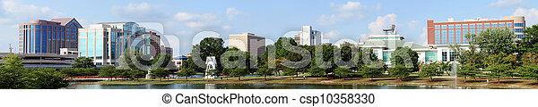 huntsville, grand, parc, en ville, panoramique, printemps, cityscape, alabama - csp10358330