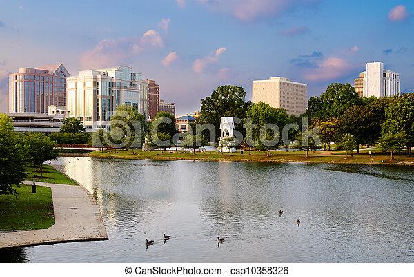 huntsville, printemps, parc, scène, en ville, alabama, coucher soleil, grand, cityscape - csp10358326
