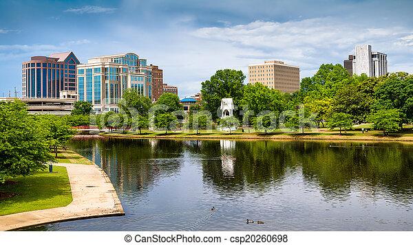 huntsville, printemps, parc, scène, en ville, alabama, grand, cityscape - csp20260698