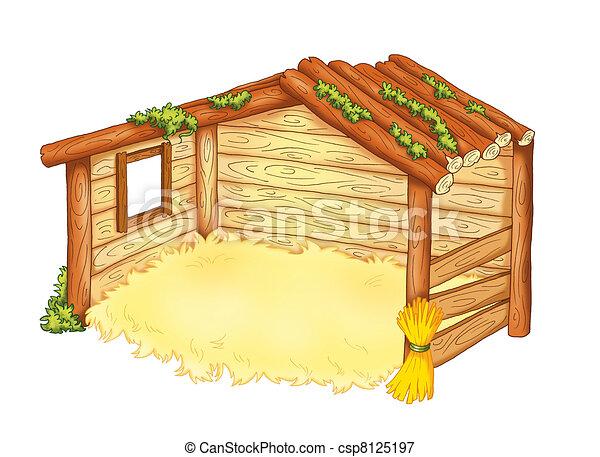 hutte, mangeoire - csp8125197