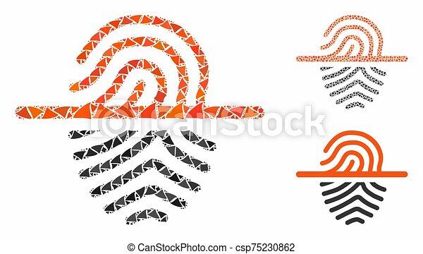icône, empreinte doigt, cahoteux, balayage, mosaïque, morceaux - csp75230862