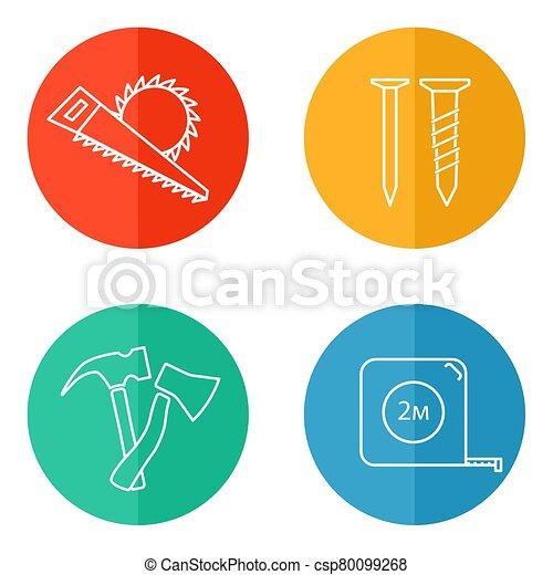 icône, ensemble, vecteur, charpentier, outils - csp80099268