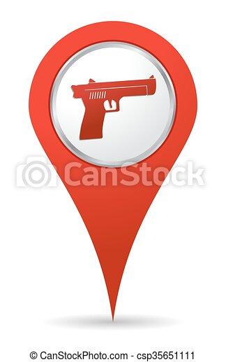 icône, fusil, emplacement - csp35651111