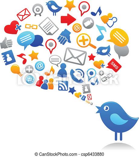 icônes, bleu, social, oiseau, média - csp6433880