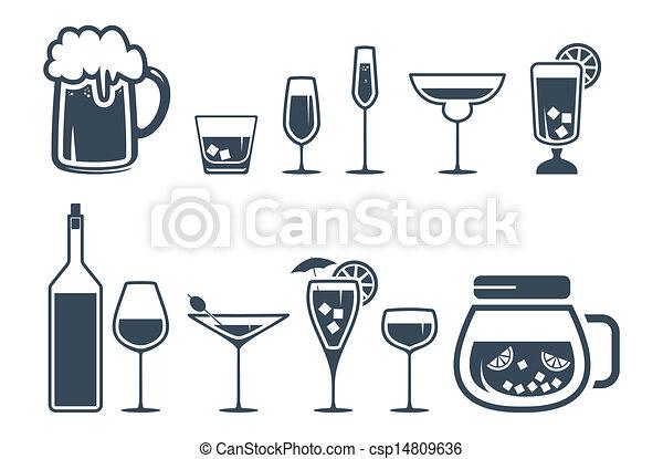 icônes, boisson, alcool, ensemble, boisson - csp14809636