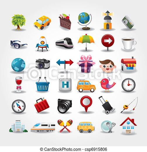 icônes, collection., voyage, illustration, vecteur, symbole - csp6915806