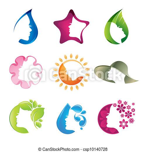 icônes, ensemble, beauté - csp10140728