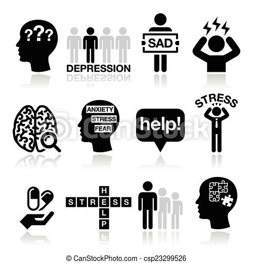 icônes, ensemble, tension, dépression - csp23299526